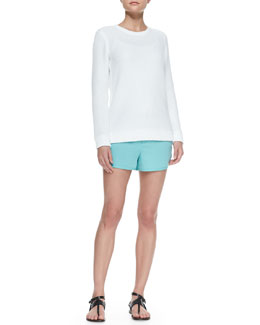 Rag & Bone Rita Rib-Trim Perforated Pullover & Jess Vented-Sides Shorts