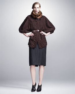 Oscar de la Renta Fisher Fox Collar, Long Chunky-Knit Cardigan, Midi Pinstriped Pencil Skirt & Alligator Belt