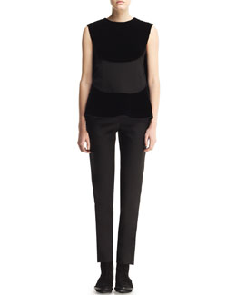 Balenciaga Sleeveless Wing-Back Top and Cropped Straight-Leg Pants