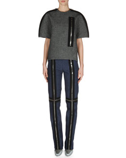 Balenciaga Short-Sleeve Zipper Top and Slim Zipper-Trim Pants
