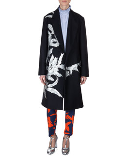 Dries van Noten Floral-Embellished Coat, Pinstripe High-Neck Blouse & Printed Pull-On Pants
