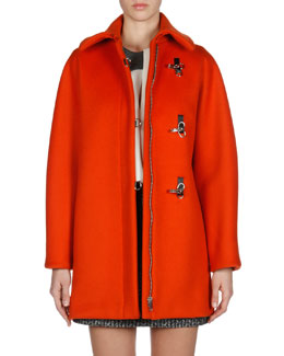 Balenciaga Hook-and-Eye Cocoon Coat, Sleeveless Combo-Yoke Top & Jacquard Mini Pencil Skirt