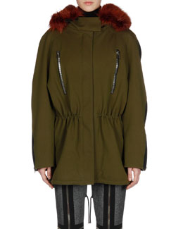 Balenciaga Parka with Beaver Fur Hood, Long-Sleeve Turtleneck Sweater & Slim Zipper-Trim Pants