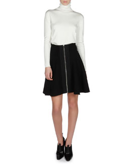 Balenciaga Long-Sleeve Turtleneck Sweater and Zip-Front Flare Skirt