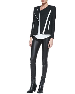 Helmut Lang Contrast-Trim Crepe Moto Jacket & Kinetic Short-Sleeve Scoop-Neck Tee