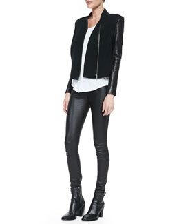 Helmut Lang Eon Wool/Leather Jacket & Kinetic Short-Sleeve Scoop-Neck Tee