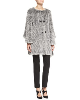 Armani Collezioni Ombre Rabbit Fur Cape Jacket, Long-Sleeve High-Low Top & Techno Cady Narrow-Leg Pants
