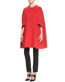 Armani Collezioni Button-Front Wool Cape, Long-Sleeve Top & Techno Cady Narrow-Leg Pants