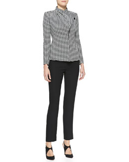 Armani Collezioni Jacquard Asymmetric-Front Jacket & Techno Cady Narrow-Leg Pants