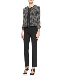 Armani Collezioni Tweed Zip-Front Jacket & Techno Cady Narrow-Leg Pants