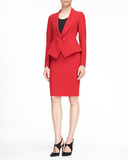 Armani Collezioni Single-Button Peplum Blazer and Classic Crepe Pencil Skirt