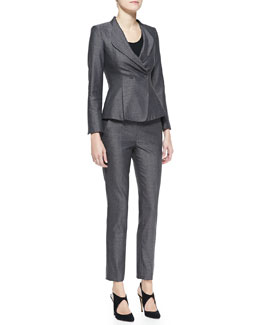 Armani Collezioni Tweed Drape-Collar Jacket & Narrow-Leg Pants