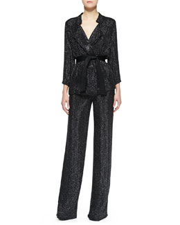 Armani Collezioni Beaded 3/4-Sleeve Belted Jacket & Beaded Suiting Wide-Leg Pants