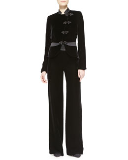 Armani Collezioni Velvet Asymmetric-Close Jacket & Wide-Leg Pants