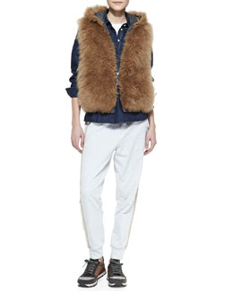Brunello Cucinelli Reversible Fur Zip Vest, Short-Sleeve Crewneck Tee & Drawstring Monili-Trim Spa Pants