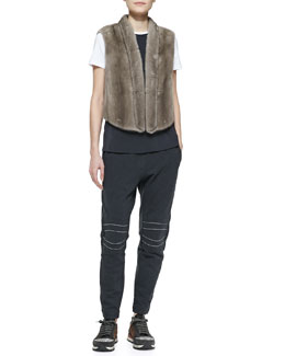 Brunello Cucinelli Tulip-Back Mink Vest, Long Sleeveless T-Shirt & Monili Moto-Knee Spa Pants