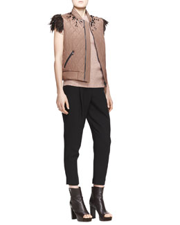 Brunello Cucinelli Embellished Feather-Trim Vest, Sequined Ribbed Cap-Sleeve Sweater & Full Pleated Ankle Trousers