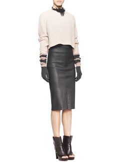 Brunello Cucinelli Long-Sleeve Ribbed Raglan Sweater, Sleeveless Ribbed-Knit Tee & High-Waist Leather Pencil Skirt