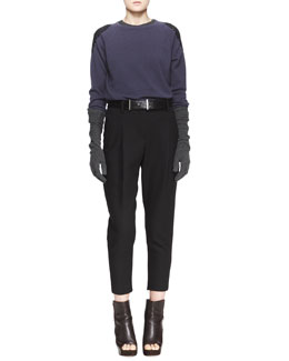 Brunello Cucinelli Embellished-Shoulder Cashmere Sweater, Sleeveless Ribbed-Knit Tee, Relaxed Pleated Ankle Pants & Elbow-Length Striped Cashmere Gloves