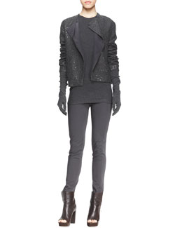 Brunello Cucinelli Sequin Knit Cashmere Cardigan with Folded Lapel, Sleeveless Ribbed-Knit Tee & Elbow-Length Gloves