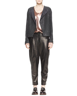 Brunello Cucinelli Sequin Knit Cardigan with Folded Lapel, Sleeveless Metallic T-Shirt & Pleated Leather Ankle Pants