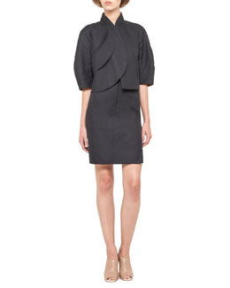 Akris Short Petal-Front Snap Jacket and Reversible Zip-Front Sheath Dress