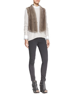 Brunello Cucinelli Tulip-Back Mink Vest, Beaded Choker Necklace, Long-Sleeve Cashmere Knit Top, Long-Sleeve Poplin Blouse & Stretch Cotton Side-Zip Jodhpur Leggings