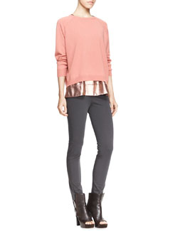 Brunello Cucinelli Long-Sleeve Boxy Crewneck Cashmere Sweater, Sleeveless Metallic T-Shirt & Stretch Cotton Side-Zip Jodhpur Leggings