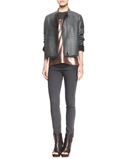 Brunello Cucinelli Seamed Shearling-Trim Jacket, Sleeveless Metallic T-Shirt & Sleeveless Ribbed-Knit Tee