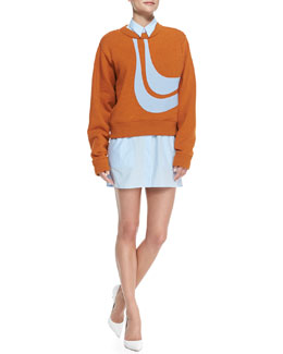 Acne Studios Abstract Bird Applique Sweatshirt & Lyric Rib-Cuff Shirtdress