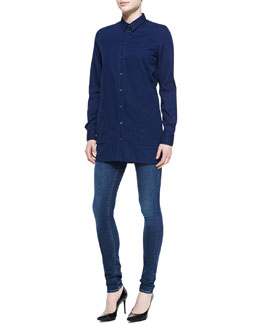 Acne Studios Lyric Denim Button-Up Shirt & Pin Storm Skinny Jeans