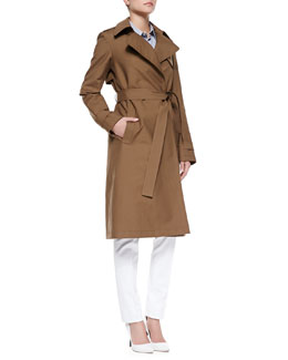 Theory Ashling Trench Coat & Perfect Poplin Button-Down Shirt & Patice Knit Casual Pants