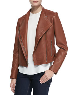 Theory Phelan New Ford Leather Jacket & Bringham Double Georgette Silk Shell