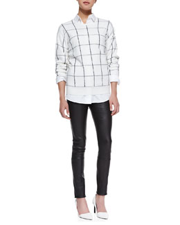 Theory Dreamrly Merino Crewneck Sweater & Nareen Poplin Button-Front Shirt & Pitella Flat-Front Lambskin Leggings