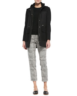Theory Alanso Cotton Makintosh Coat, Perfect Staple Cashmere Crewneck Sweater & Rhythm Printed Cropped Pants