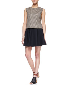 Theory Focha Plaid Sleeveless Shell & Merlock Pleated Short Skirt