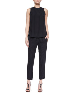 Theory Brennia Pinstripe Sleeveless Shell & Korene Pinstripe Pull-On Cropped Pants