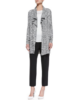 Theory Trincy C Space-Dye Open Cardigan, Landran Boat-Neck Knit Sweater & Korene Pull-On Cropped Pants