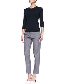Theory Mirzi Banded-Trim Knit Sweater & Item Cropped Houndstooth Suit Pants