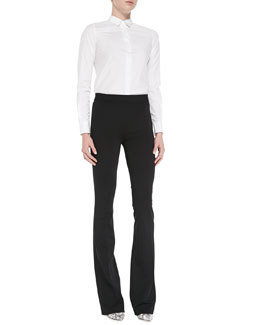 Theory Emmanuelle Double-Georgette Button Blouse & Brinton Boot-Cut Suiting Pants