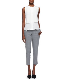 Theory Gentaire Sleeveless Double-Layer Silk Top & Betoken Cropped Suit Pants