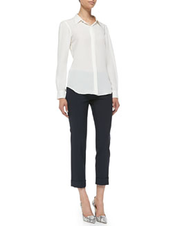 Theory Miska Double-Georgette Blouse & Jin Cuffed Cropped Crepe Pants