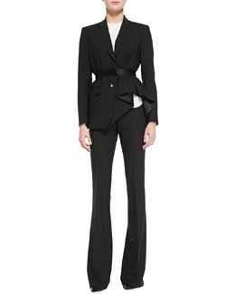 Theory Jester Runway Blazer, Bringham Double Georgette Silk Shell & Brinton Boot-Cut Suiting Pants