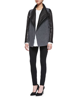 Theory Naomo Leather-Sleeve Felt Coat, Nyle Sartorial Tux Shirt & Piall K Classic Pull-On Leggings