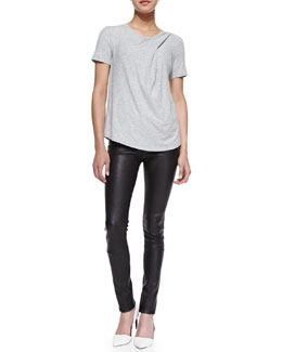 Theory Trake Short-Sleeve Slub Tee & Pitella Flat-Front Leather Leggings