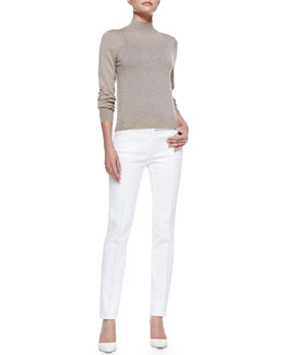 Theory Sallie Banded-Trim Knit Sweater & Patice Knit Casual Pants