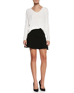 Theory Kommie Perforated Knit Loose Sweater & Gida Fit & Flare Knit Skirt