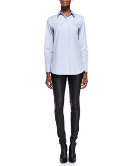 Theory Nareen Poplin Button-Front Shirt & Pitella Flat-Front Lambskin Leggings