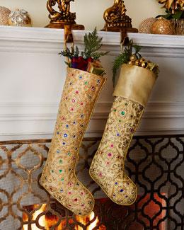 Sudha Pennathur Golden Beaded Christmas Stockings