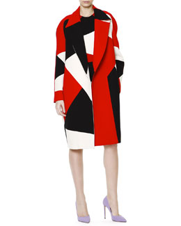 Fausto Puglisi Zigzag Colorblock Wide-Lapel Caban Coat & Sheath Dress